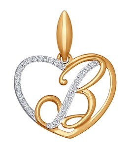Подвеска-буква из золота с фианитами 034650