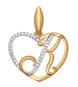 Подвеска-буква К из золота с фианитами 034656