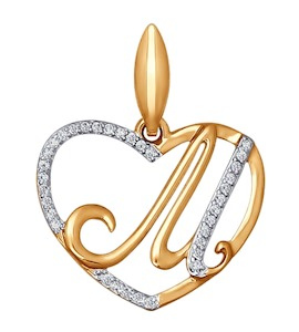 Подвеска-буква М из золота с фианитами 034658