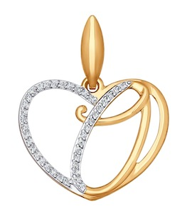 Подвеска-буква О из золота с фианитами 034660