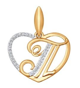 Подвеска-буква Т из золота с фианитами 034664