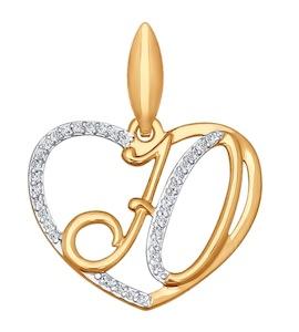 Подвеска-буква Ю из золота с фианитами 034665