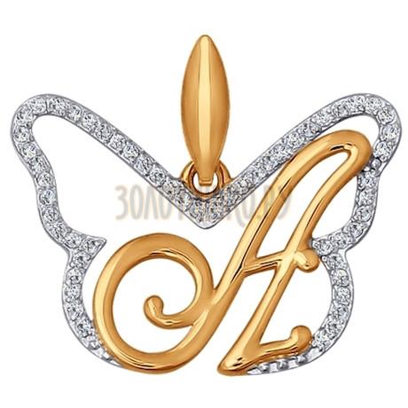 Подвеска-буква из золота с фианитами 034684