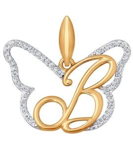 Подвеска-буква из золота с фианитами 034685