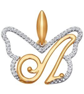 Подвеска-буква из золота с фианитами 034691