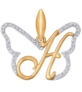 Подвеска-буква из золота с фианитами 034693