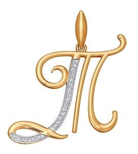 Подвеска-буква Т из золота с фианитами 034713
