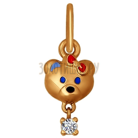 Золотой кулон с мишкой 034747