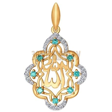 Подвеска мусульманская из золота с зелеными фианитами 034823