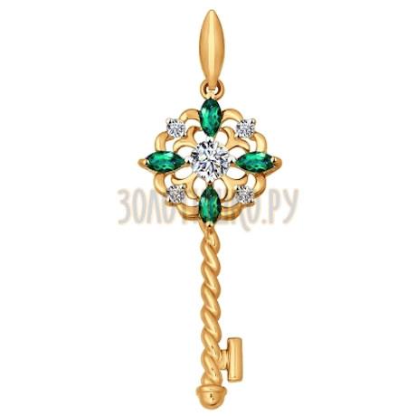 Подвеска из золота с зелеными фианитами 034838