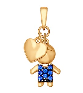 Подвеска из золота с синими фианитами 034908