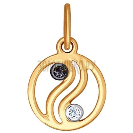 Подвеска из золота с фианитом и чёрным фианитом 034952