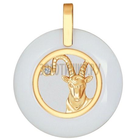 Подвеска из золота с керамической вставкой и фианитом 034988