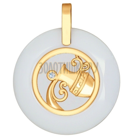 Подвеска из золота с керамической вставкой и фианитом 034989