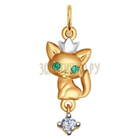 Подвеска из золота «Кошка» с зелёными фианитами 035088