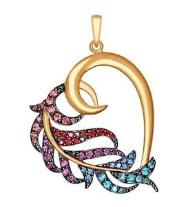 Подвеска из золота с голубыми, зелеными, красными, розовыми и сиреневыми фианитами 035187