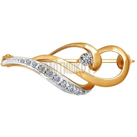 Брошь из золота с фианитами 040075