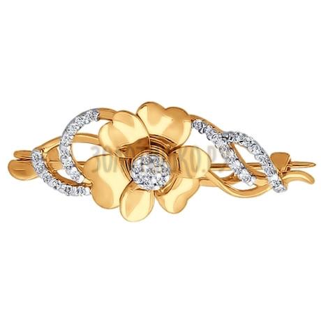 Брошь из золота с фианитами 040147