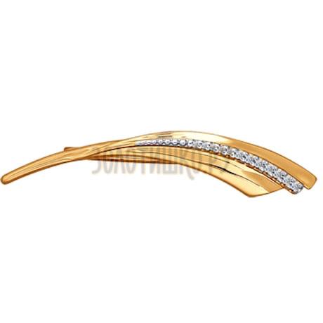 Брошь из золота с фианитами 040150