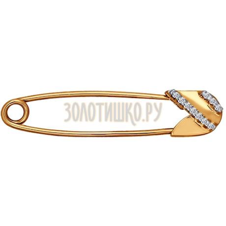 Брошь из золота с фианитами 040157