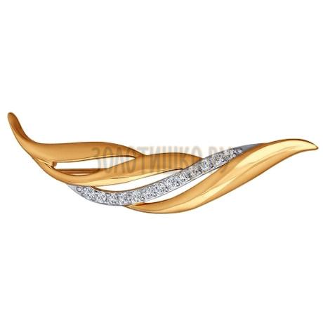 Брошь из золота с фианитами 040161