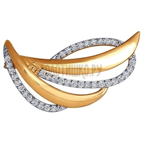 Брошь из золота с фианитами 040162