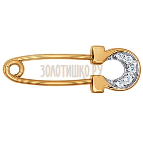 Брошь из золота с фианитами 040165