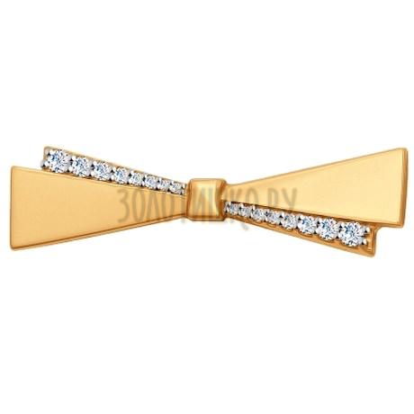 Брошь из золота с фианитами 040166