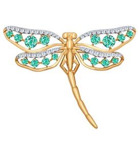 Брошь «Стрекоза» из золота с зелеными фианитами 040169