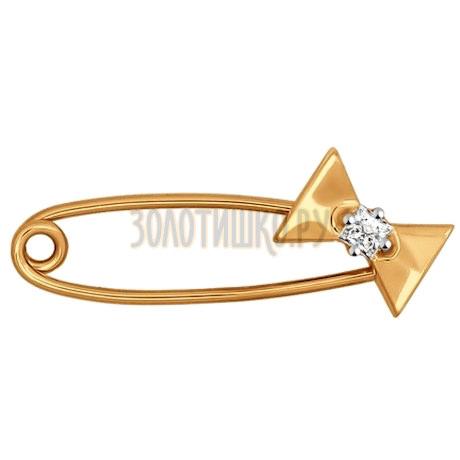 Брошь из золота с фианитом 040171