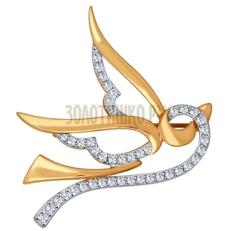Брошь из золота с фианитами 040175