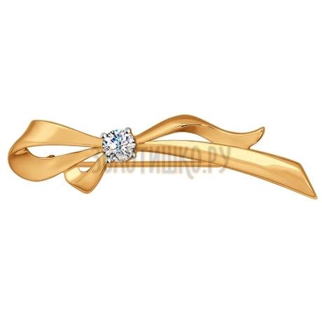 Брошь из золота с фианитом 040176