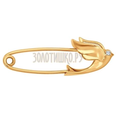 Брошь из золота с фианитом 040177