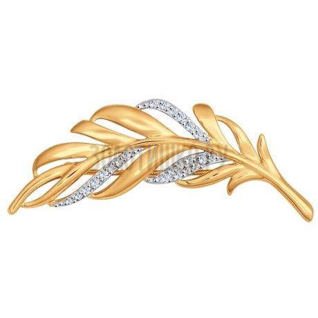 Брошь из золота с фианитами 040179