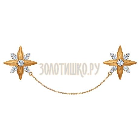 Брошь из золота с фианитами 040181