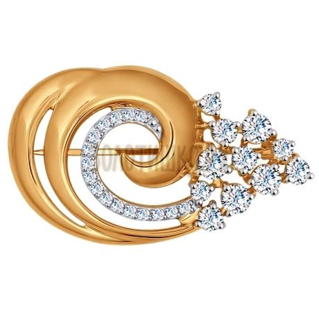 Брошь из золота с фианитами 040182