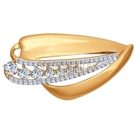 Брошь из золота с фианитами 040184