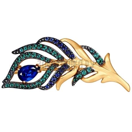 Брошь из золота с зелеными и синими фианитами 040185