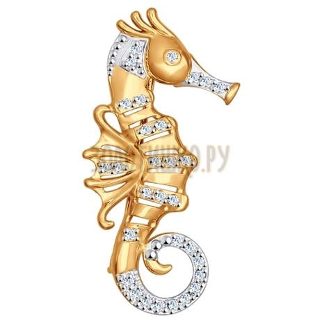 Брошь из золота с фианитами 040186