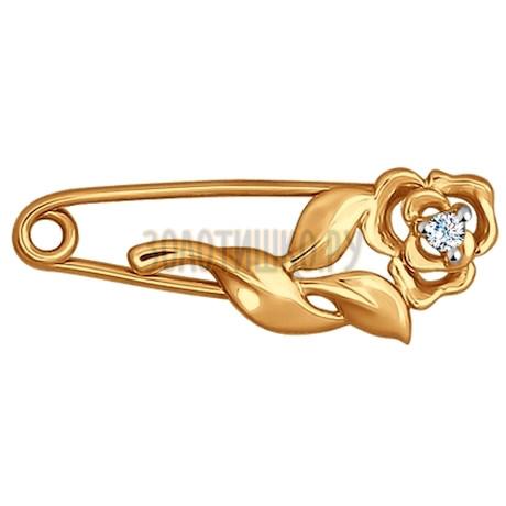 Брошь из золота с фианитом 040187