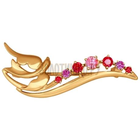 Брошь из золота с сиреневыми, розовыми и красными фианитами 040190