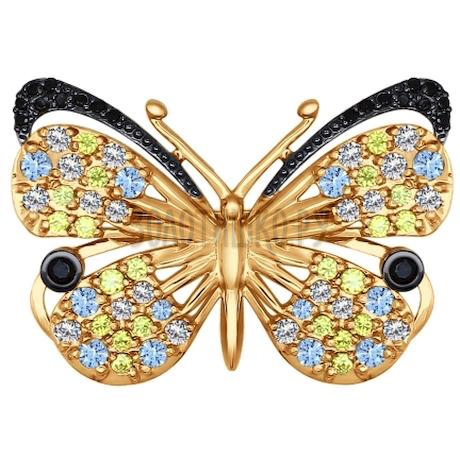 Брошь из золота с бесцветными, голубыми, чёрными и жёлтыми фианитами и чёрными фианитами 040197