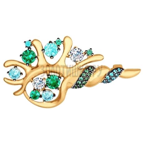 Брошь из золота с зелеными, зелеными и бесцветными фианитами 040199