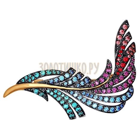 Брошь из золота с зелеными, голубыми, розовыми и  красными фианитами 040201