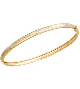 Жёсткий браслет из золота с алмазной гранью 050292