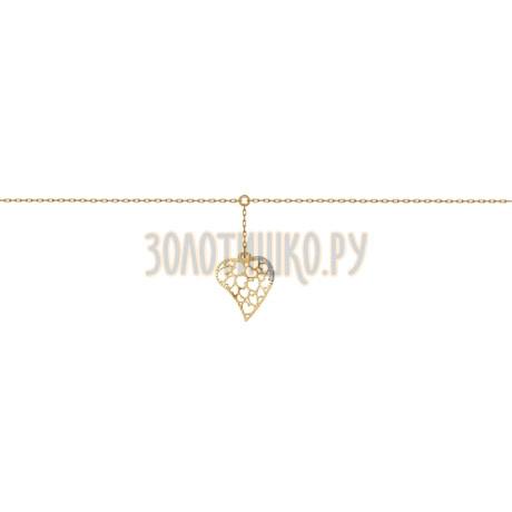 Золотой анклет с фианитами 050687