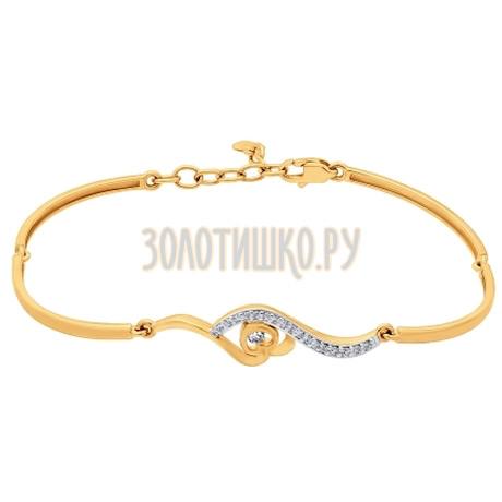 Браслет жёсткий из золота с фианитами 050699