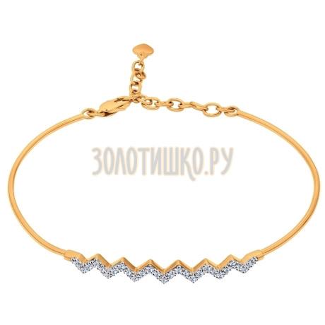 Браслет жёсткий из золота с фианитами 050880