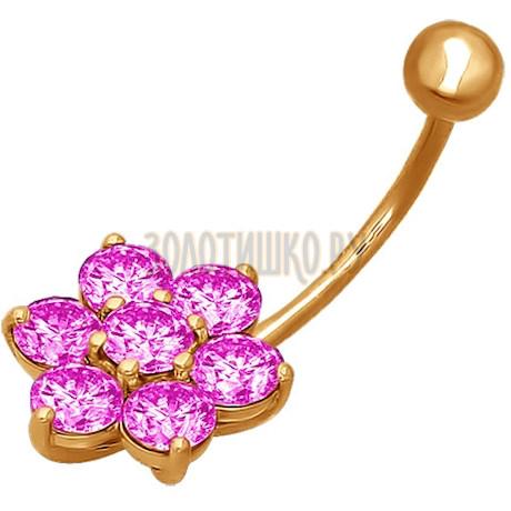 Пирсинг в пупок из золота с розовыми фианитами 060041
