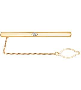Зажим для галстука из двух видов золота с фианитом 090001